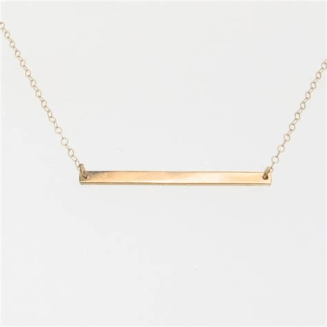 14k gold stick necklace thin horizontal bar necklace