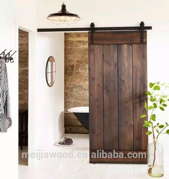 Two Horizontal Slats Rustic Simple Solid Wood Interior Barn Door Slab