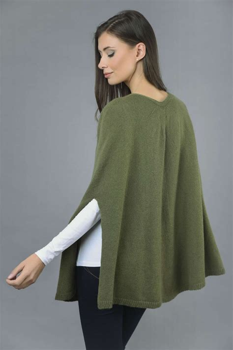 knitted cape poncho plain knitted poncho cape in loden green
