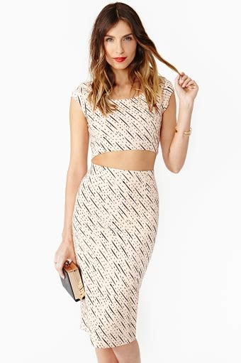 matching pencil skirt and crop top