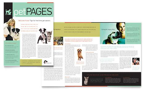 stock layout newsletter pets animals newsletters templates designs
