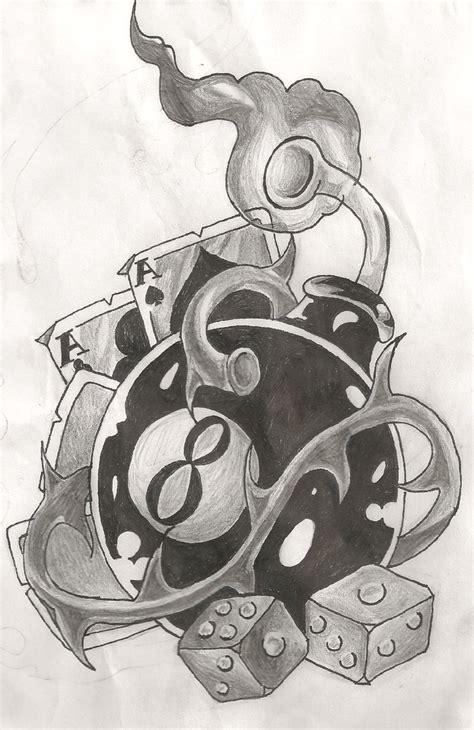 collection of 25 skull guns 8 ball n dice tattoo design