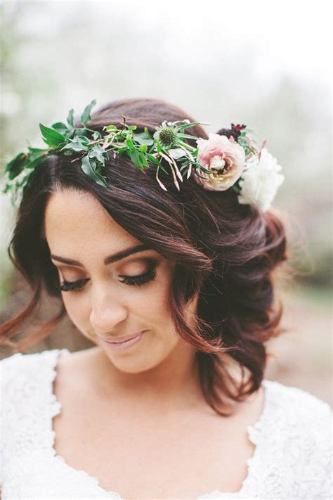 wedding hair with flowers boho wedding hairstyles a flower crown and a curly updo