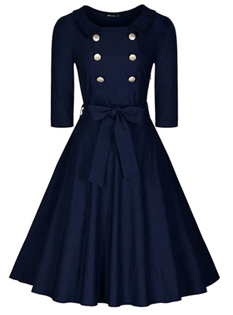casual belted vintage retro swing dress navy blue brass button trim 3 4 sleeve