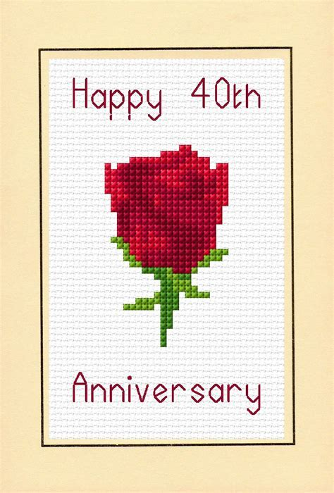 Rose Red Ruby Happy 40th Anniversary Card   14 Count Cross