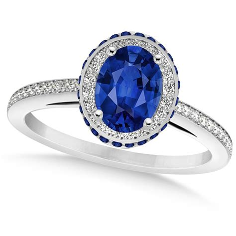 Blue Sapphire 4 35 Ct oval blue sapphire halo engagement ring 14k white