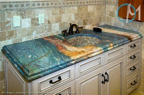 unique and exotic stone wall bathroom by arkiden124 this vanity features the extremely exotic van gogh granite