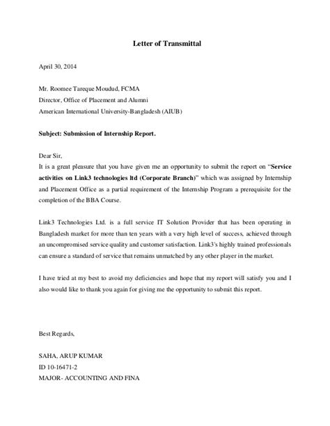 covering letter for project report letter of transmittal acknowledgement executive summary