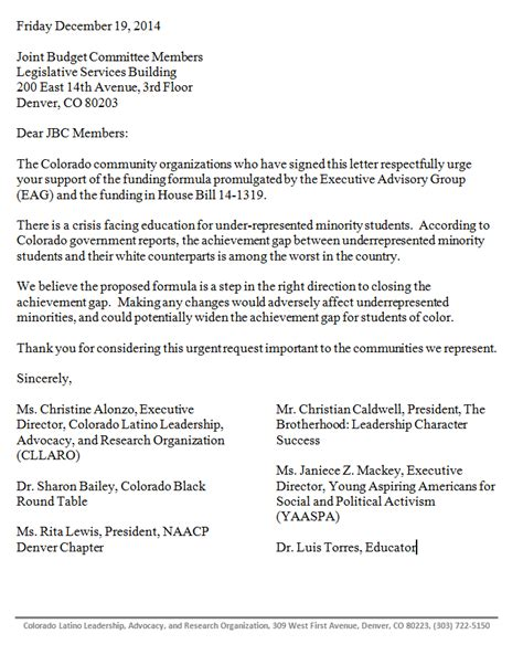 Support Letter Research Outcomes Based Funding For Higher Education Colorado Department Of Higher Education