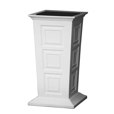 Column Planter by Ideas 16 In Square White Poly Resin Column Planter Sv P Whi The Home Depot