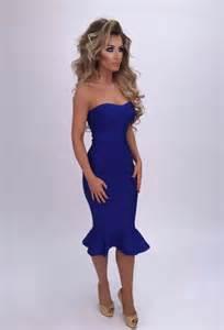 mermaid cobalt blue midi bandage dress la boutique