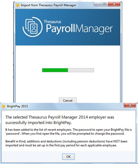 thesaurus confirmation importing from thesaurus payroll manager brightpay