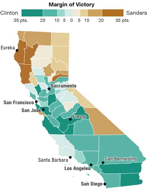 california map divided by counties california had a geographic sanders clinton split why npr