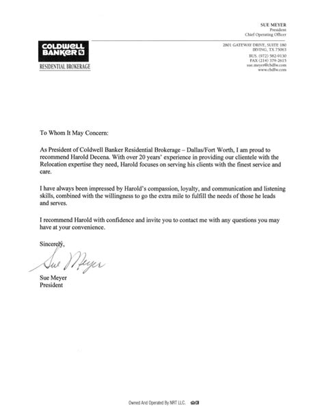 Recommendation Letter from Sue Meyer, President & COO