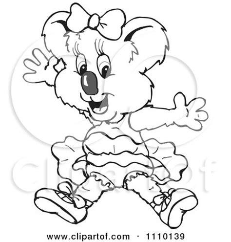 koala ballet coloring pages clipart black and white aussie koala ballerina royalty