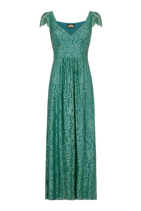 maxi dress in shanghai green flower lace by nancy mac