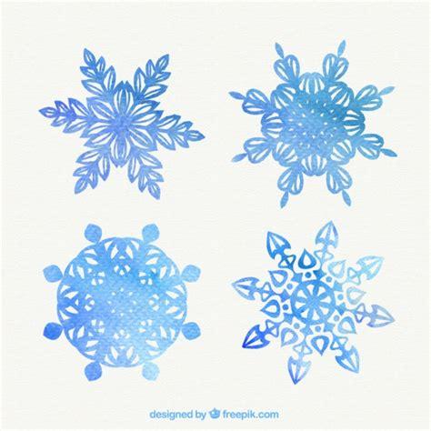 水彩画のスタイルでの素敵な雪の結晶 ベクター画像 無料ダウンロード