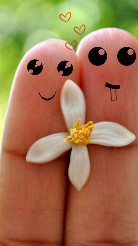 cute love cartoon couple fingers iphone