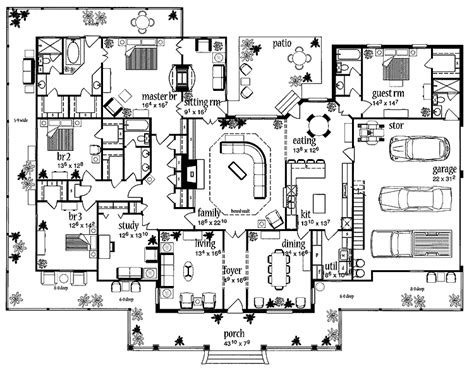 big house plans floor plans aflfpw13992 1 story farmhouse home with 4 bedrooms 3 bathrooms and 3 388 total