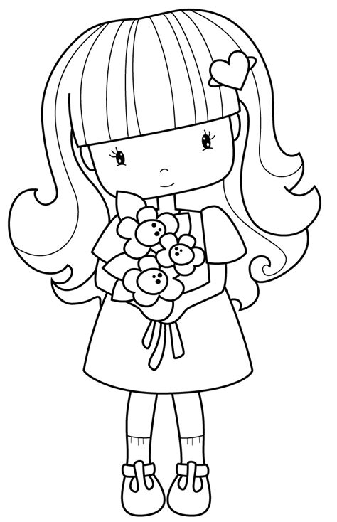 cute wedding coloring pages flower girl cute line drawing shadow stencil