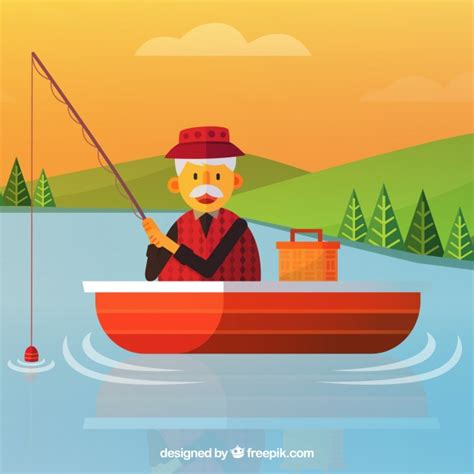 old man on boat old man fishing in a boat background vector free download