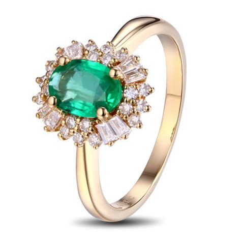 1 carat halo gemstone green emerald and engagement