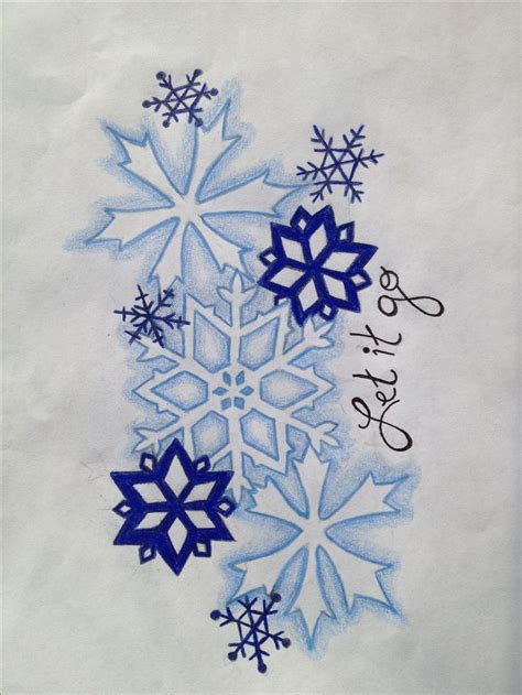 snowflakes let it go design gel pen tattoos for