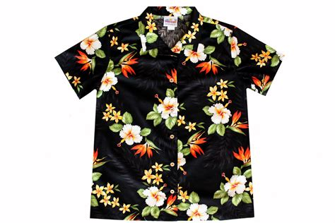 hawaiian shirt black bird of paradise womens hawaiian shirts