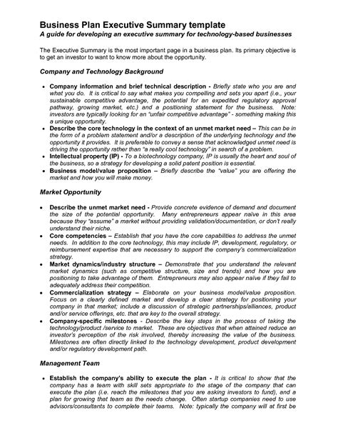 executive summary template for business plan best photos of business plan executive summary exle
