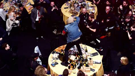 coldplay bmth bring me the horizon destroying coldplay s nme table wasn