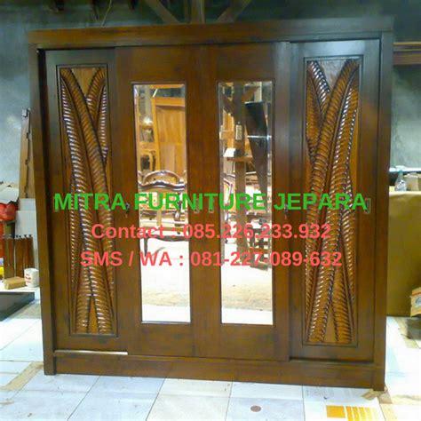Lemari Pakaian Sliding 4 Pintu Minimalis 200 X 200cm lemari sliding pintu 4 motif daun gelombang mebel jati