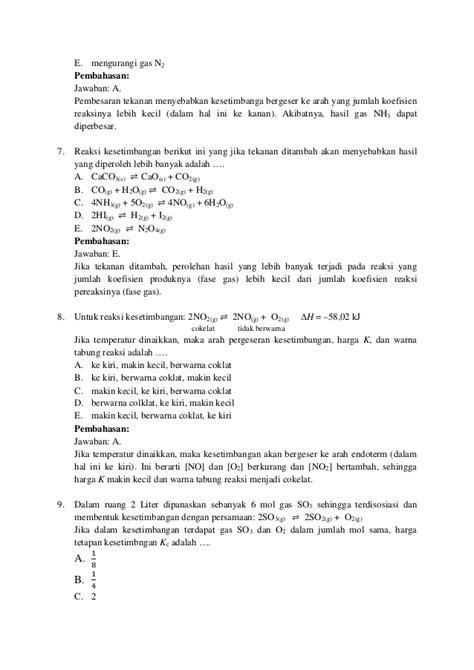 Soal kesetimbangan kimia dan pergeseran kimia