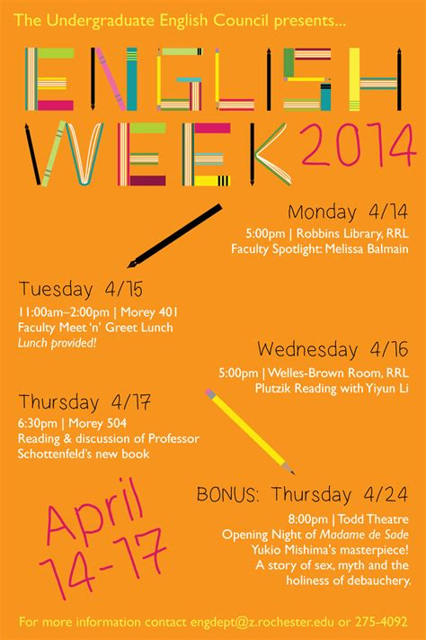 themes for english week celebration 2015 department of english university of rochester