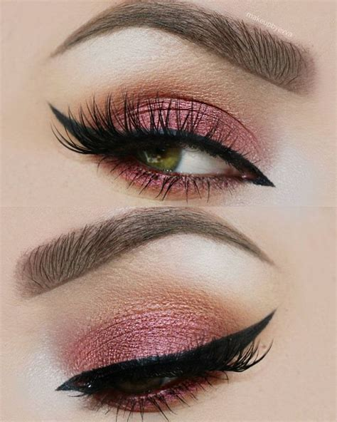 pink brown eyeshadow makeup plum pink light brown gold eyeshadow with black