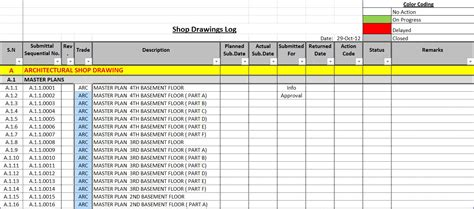 how to create a shop drawings submittas log with sle