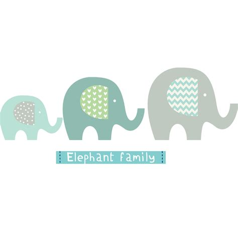 Family Tree Wall Art Stickers elephant family littleprints