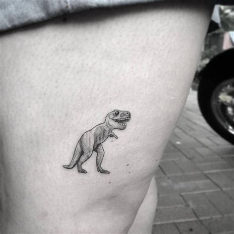 cute small thigh tattoos micro t rex on the thigh animal tattoos