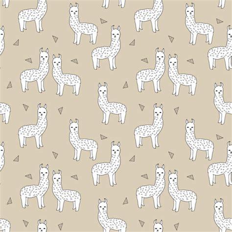 cute pattern fabric alpaca neutral khaki llama fabric cute alpaca design