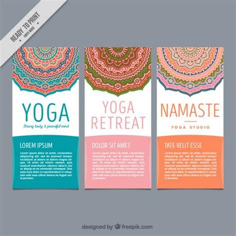 Cute yoga flyers with decorative mandalas Vector   Premium