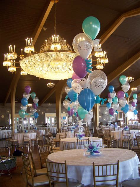 """Balloon Centerpieces using 5, 16"""" latex balloons with"""