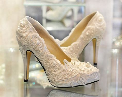 Handmade Wedding Shoes - 2013 white lace wedding shoes unique wedding shoes in
