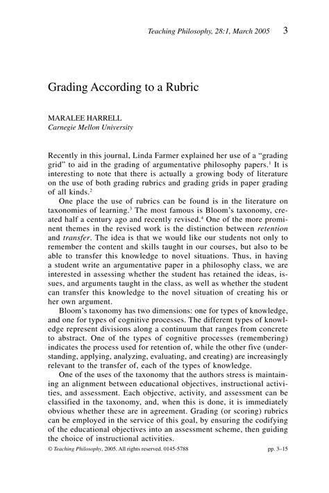 Exle Of Philosophical Essay by Grading According To A Rubric Maralee Harrell Teaching Philosophy Philosophy Documentation
