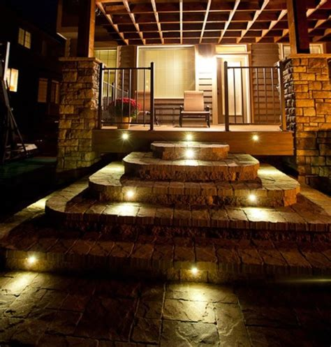 outdoor step lighting led indoor outdoor led recessed black stair light kit 4 led