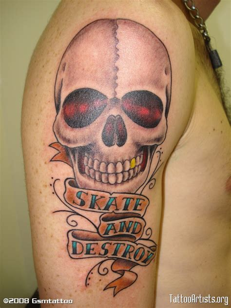 skate and destroy tattoo skate and destroy banner and skull on right