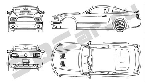blueprints ford mustang gt 500 2007 by