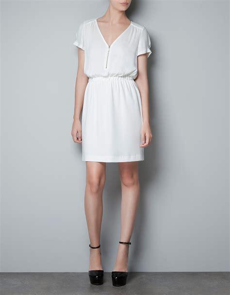 Dress Zara zara dress with zip neckline and elasticated waist in white lyst