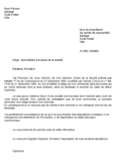 Type De Lettre Entreprise Lettre De Domiciliation