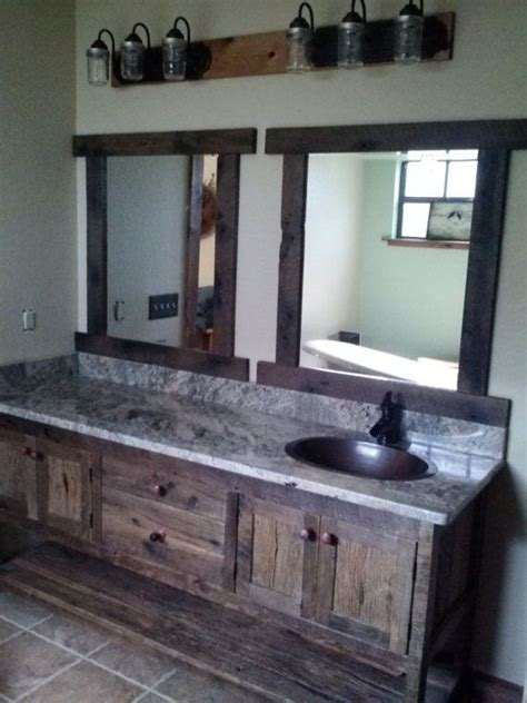 custom made vanity rustic barn wood also love the mason