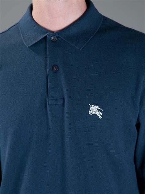 Polo Shirt Burberry Brit Premium Pspb Burberry 5 burberry brit logo polo shirt in blue for lyst