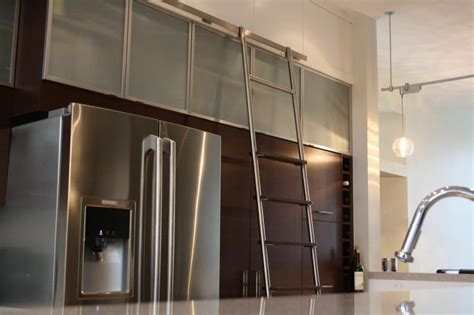 Stainless Steel Kitchen Design Custom Sliding Kitchen Ladder With Maple Stainless